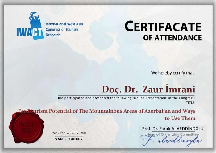 Coğrafiyaçı alim Beynəlxalq Qərbi Asiya Turizm Araşdırmaları Konqresinin sertifikatına layiq görülüb