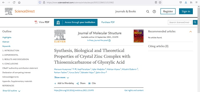 Aşqarlar Kimyası İnstitutunun alimlərinin aldıqları yeni metal komplekslərin dərman potensialı araşdırılıb
